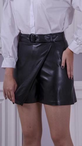 [001:] Юбка-шорты кожа (черный)